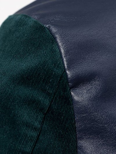 Corduroy PU Leather Baseball Jacket - BLUE AND GREEN L Mobile