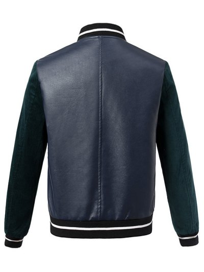 Corduroy PU Leather Baseball Jacket - BLUE AND GREEN S Mobile