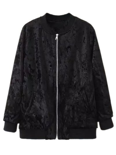 Velvet Pilot Jacket - BLACK L Mobile