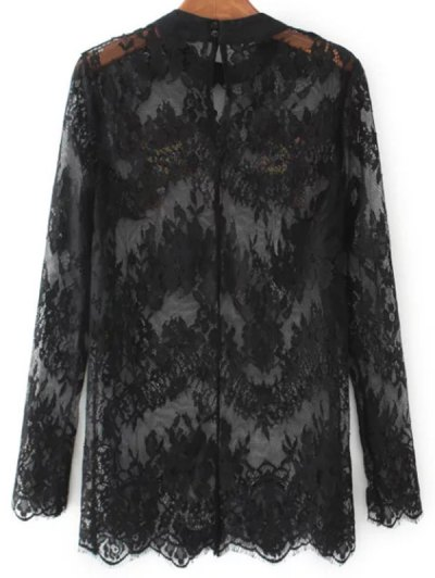 Birds Embroidered Lace Top - BLACK S Mobile