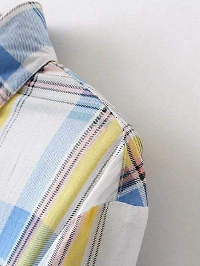 Boyfriend Button Up Pocket Plaid Shirt - RED 2XL Mobile