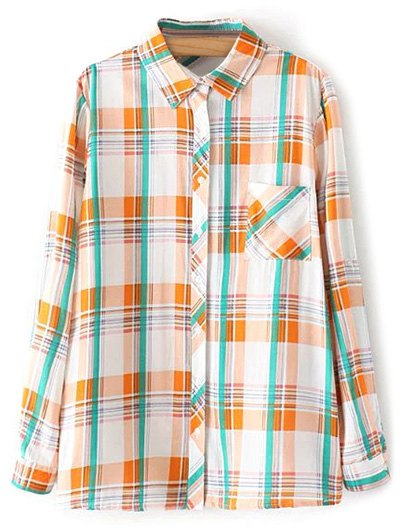 Boyfriend Button Up Pocket Plaid Shirt - ORANGE L Mobile
