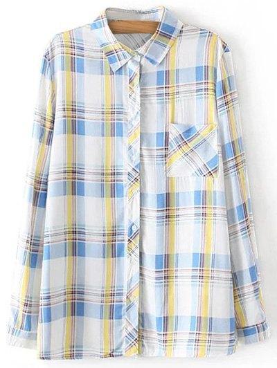 Boyfriend Button Up Pocket Plaid Shirt - LIGHT BLUE M Mobile