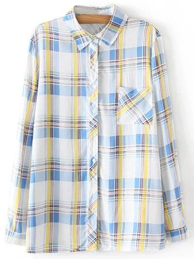 Boyfriend Button Up Pocket Plaid Shirt - LIGHT BLUE L Mobile