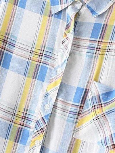 Boyfriend Button Up Pocket Plaid Shirt - LIGHT BLUE 2XL Mobile