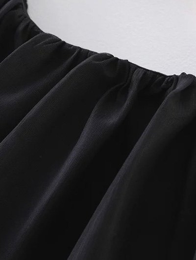 Tulle Ruffle Tunic Top - BLACK S Mobile