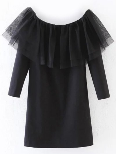 Tulle Ruffle Tunic Top - BLACK M Mobile