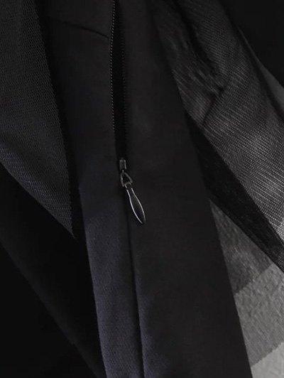 Tulle Ruffle Tunic Top - BLACK L Mobile