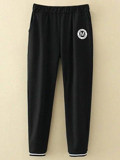 Plus Size Applique Top and Pants - BLACK 3XL Mobile