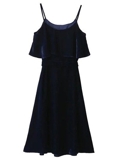 Slip Velvet Belted Ruffle Dress - PURPLISH BLUE S Mobile