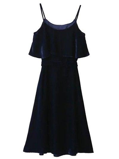Slip Velvet Belted Ruffle Dress - PURPLISH BLUE M Mobile