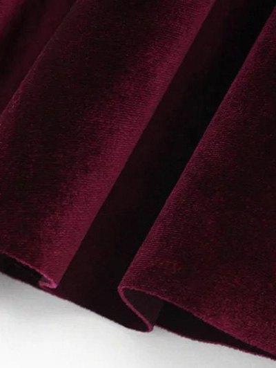 Velvet A Line Mini Skirt - PURPLISH BLUE M Mobile
