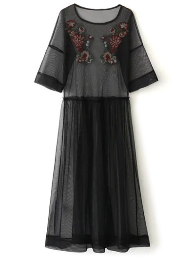 See Thru Tulle Embroidered Maxi Dress - BLACK S Mobile