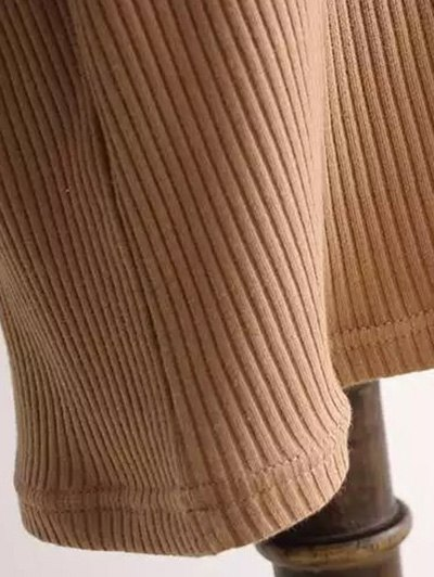 Ribbed Sleeveless Knitted Sheath Dress - CAMEL ONE SIZE Mobile
