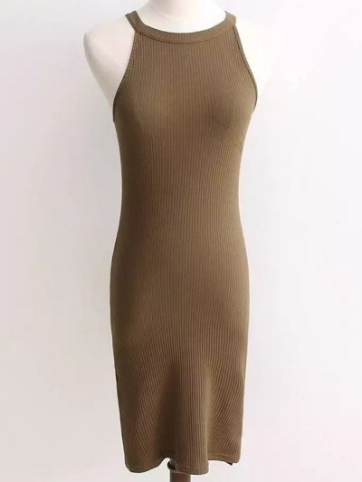 Ribbed Sleeveless Knitted Sheath Dress - ARMY GREEN ONE SIZE Mobile