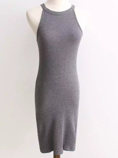 Ribbed Sleeveless Knitted Sheath Dress - GRAY ONE SIZE Mobile
