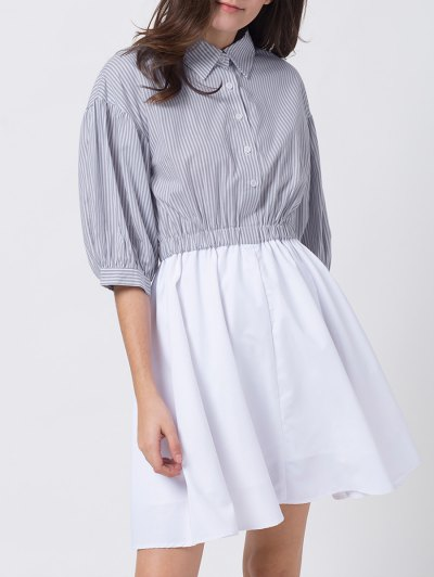 A Line Stripes Puff Sleeve Shirt Dress - GREY AND WHITE XS Mobile