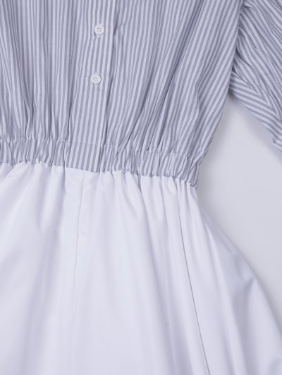 A Line Stripes Puff Sleeve Shirt Dress - GREY AND WHITE S Mobile