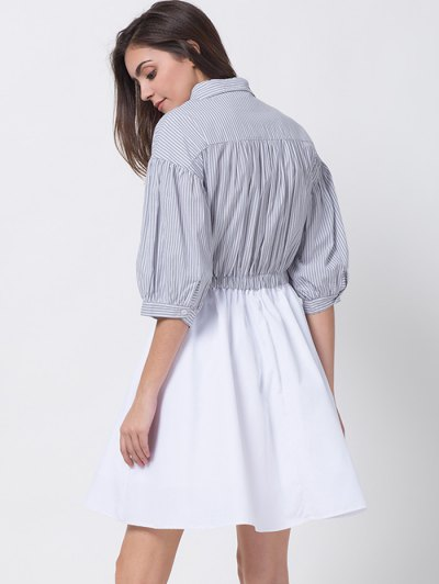 A Line Stripes Puff Sleeve Shirt Dress - GREY AND WHITE M Mobile