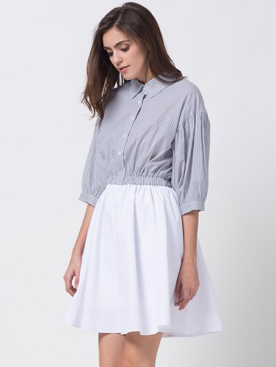 A Line Stripes Puff Sleeve Shirt Dress - GREY AND WHITE L Mobile