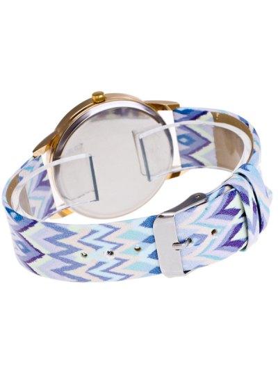 Wave Print Letter Quartz Watch - WHITE  Mobile