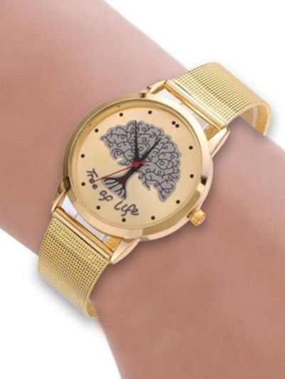 Mesh Band Tree of Life Analog Watch - GOLDEN  Mobile