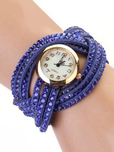 Rhinestone Number Twist Bracelet Watch - BLUE  Mobile