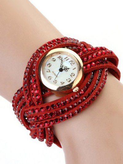 Rhinestone Number Twist Bracelet Watch - RED  Mobile