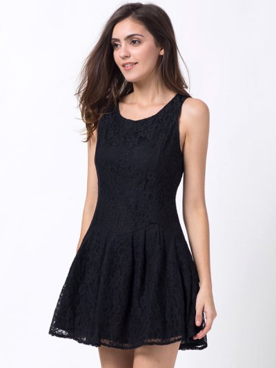 Sleeveless Lace Mini Dress - BLACK XS Mobile