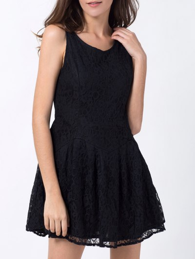 Sleeveless Lace Mini Dress - BLACK M Mobile