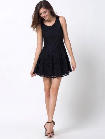 Sleeveless Lace Mini Dress - BLACK L Mobile