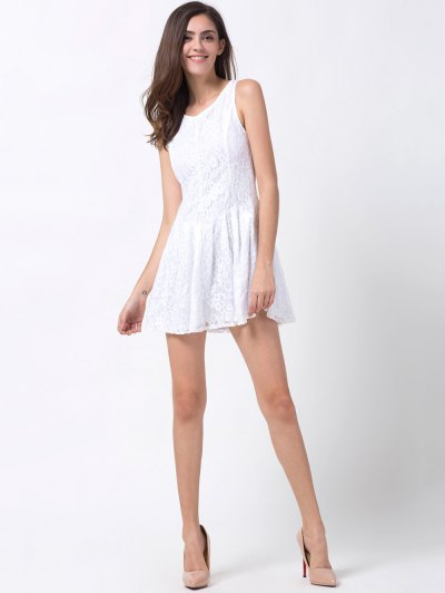 Sleeveless Lace Mini Dress - WHITE XS Mobile