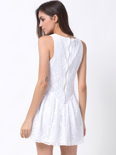 Sleeveless Lace Mini Dress - WHITE 2XL Mobile