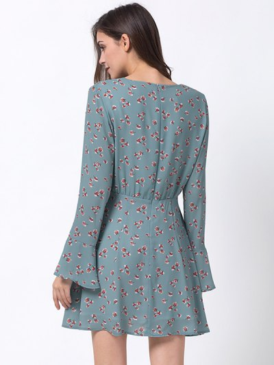 Tiny Floral Flare Sleeve Chiffon Dress - ICE BLUE L Mobile