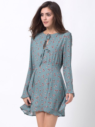 Tiny Floral Flare Sleeve Chiffon Dress - ICE BLUE XL Mobile