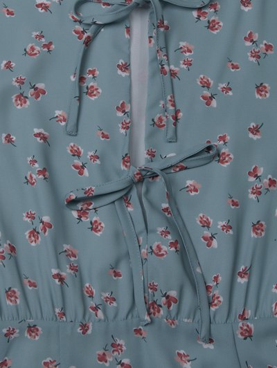 Tiny Floral Flare Sleeve Chiffon Dress - ICE BLUE 2XL Mobile