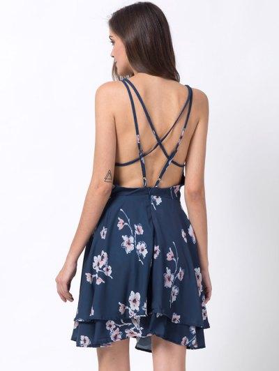Tiny Floral Slip A Line Dress - BLUE L Mobile