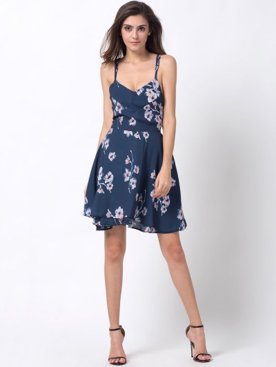 Tiny Floral Slip A Line Dress - BLUE 2XL Mobile