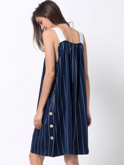 Striped Single-Breasted Tank Dress - BLUE L Mobile
