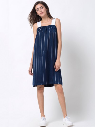 Striped Single-Breasted Tank Dress - BLUE 2XL Mobile