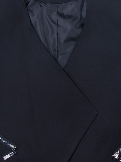 Open Front Draped Zipper Blazer - BLACK M Mobile