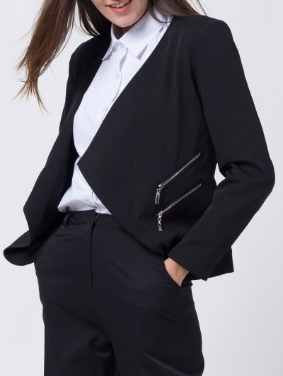 Open Front Draped Zipper Blazer - BLACK L Mobile