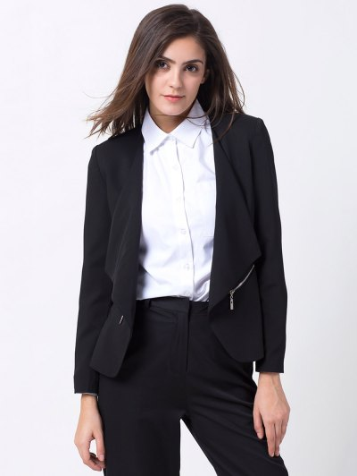 Open Front Draped Zipper Blazer - BLACK XL Mobile