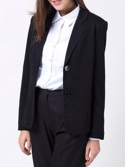 Back Slit Lapel Collar Blazer - BLACK XS Mobile