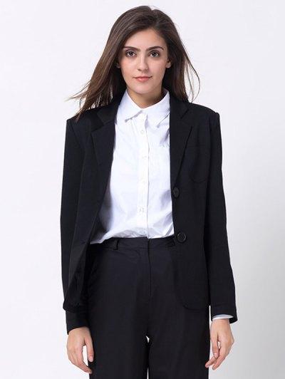 Back Slit Lapel Collar Blazer - BLACK L Mobile