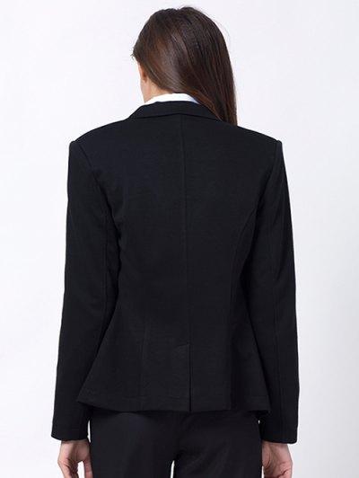Back Slit Lapel Collar Blazer - BLACK 2XL Mobile