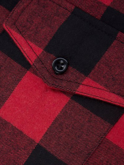 Tartan Shirt with Pocket - RED WITH BLACK XS Mobile