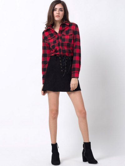 Tartan Shirt with Pocket - RED WITH BLACK M Mobile
