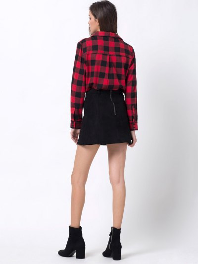 Tartan Shirt with Pocket - RED WITH BLACK 2XL Mobile