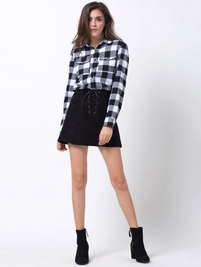 Tartan Shirt with Pocket - WHITE AND BLACK XS Mobile